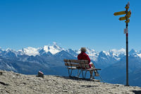 Blick von der Pointe de la Plaine Morte über das Rhone-Tal auf die Gipfel der Walliser Alpen mit dem Weisshorn