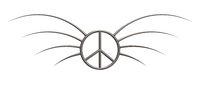 friedenssymbol mit stacheln aus metall - 3d illustration