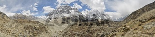 Scenic panorama of valley in Himalayas near Kanchenjunga in Nepal