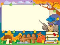 Autumn frame with owl teacher 1 - picture illustration.