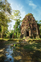 Khmer temple ruins with banyan tree. Cambodia