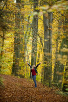 woman in the autumn beech grove