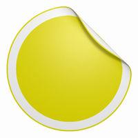 Aufkleber rund - Ecke gebogen gelb