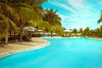 Swimming pool in tropical luxury hotel. Vietnam