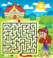 Maze 3 with schoolgirl - picture illustration.