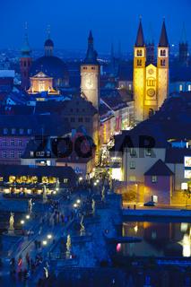 Stadt Würzburg bei Nacht