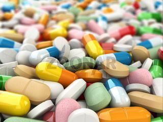 Medicine pills background.