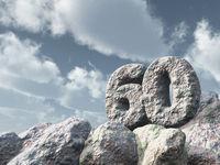 nummer sechzig aus stein - 3d illustration