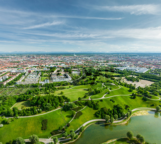 Aerial view of Olympiapark and Munich from Olympiaturm (Olympic Tower). Munich