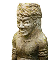 Stone sculpture of ancient warrior isolated on white background. Indonesia, Bali