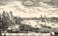 Historical  cityscape, Frankfurt, Main, Germany, Europe, 17th Century