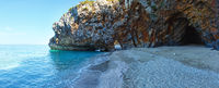 Mylopotamos beach summer view (Greece). Panorama.