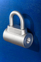padlock on blue background