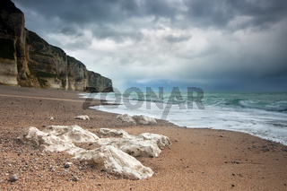 stormy weather over Normandy coast