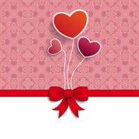 Valentines Day Hearts Red Ribbon