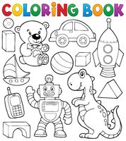 Coloring book with toys thematics 2 - picture illustration.