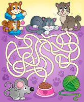 Maze 13 with cats - picture illustration.