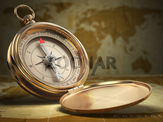 Compass on world map background. Navigation.