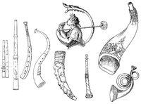 old brass instruments, zinc, horn, buffalo horn, bucina, bugle