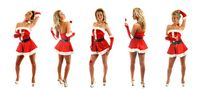 santa girl posing on white background collect