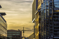 sunset in office buildings in Hamburg