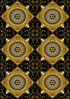 Black background of gold rhombus with gold flowers