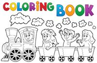Coloring book train theme 2 - picture illustration.