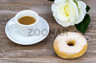 Glazed donut with espresso