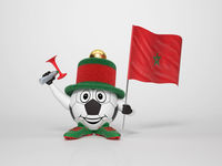 Soccer character fan supporting Morocco