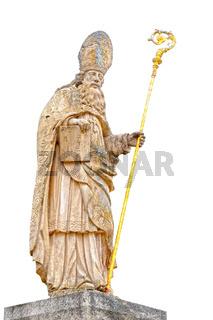 Skulptur des Heiligen Blasius mit weißen Hintergrund