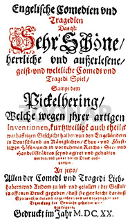 Historic print, 1620, front page of the book Englische Komoedien und Tragoedien, by Heinrich Julius, 1564 - 1613, Bishop of Halberstadt, Duke of Brunswick and Lueneburg and prince of Brunswick-Wolfenbuettel,
