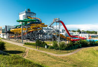 Jurmala, Latvia-July 19, 2014: Day view of Livu Aquapark, biggest covered multi-functional water park in the Baltics and Eastern Europe, located in resort town Jurmala, Latvia on July 19.2014.