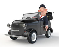 The 3D businessman costs near car.