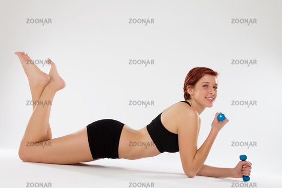 exercising elbow pushups with dumbbells