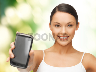 woman showing smartphone