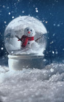 Snow globe in a snowy winter background