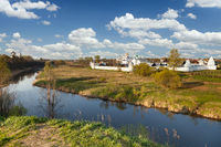 Beautiful white monastery in Suzdal, Russia