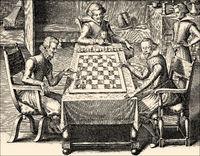 Playing chess, 17th century