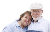 Happy Senior Couple Isolated on White