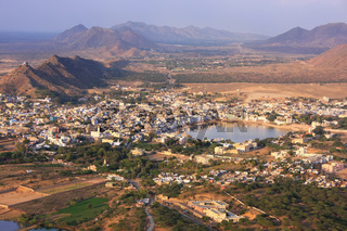 Aerial view of Pushkar city, Rajasthan, India