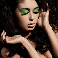 elegant fashionable woman with green visage