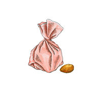 Candy with almonds. Watercolor