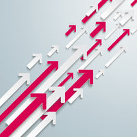 Arrows Up White Pink Bevel Growth PiAd