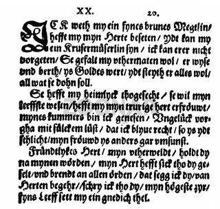 Historic print, 1620, a Low German love song,