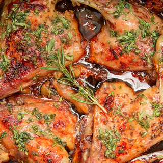 Tasty grilled chicken with herbs