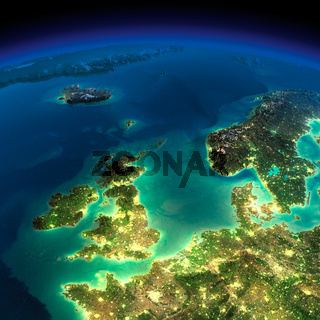 Night Earth. United Kingdom and the North Sea