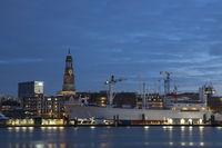 The harbor of Hamburg with St. Michaelis, Germany