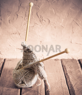 Ball of yarn on a wooden table