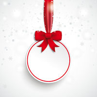 White Paper Bauble Red Ribbon Snowfall PiAd