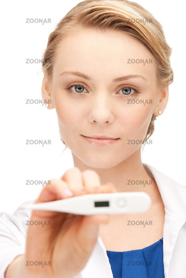 attractive female doctor with thermometer